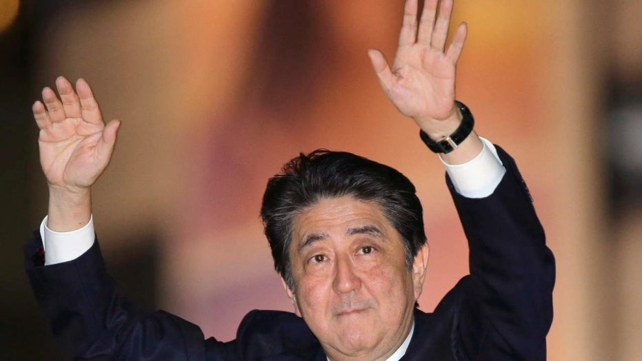 Oct. 18, 2017: Japan's Prime Minister and President of the ruling Liberal Democratic Party Shinzo Abe waves to the crowd in support for his party's candidate during an election campaign for the upcoming lower house election in Tokyo.