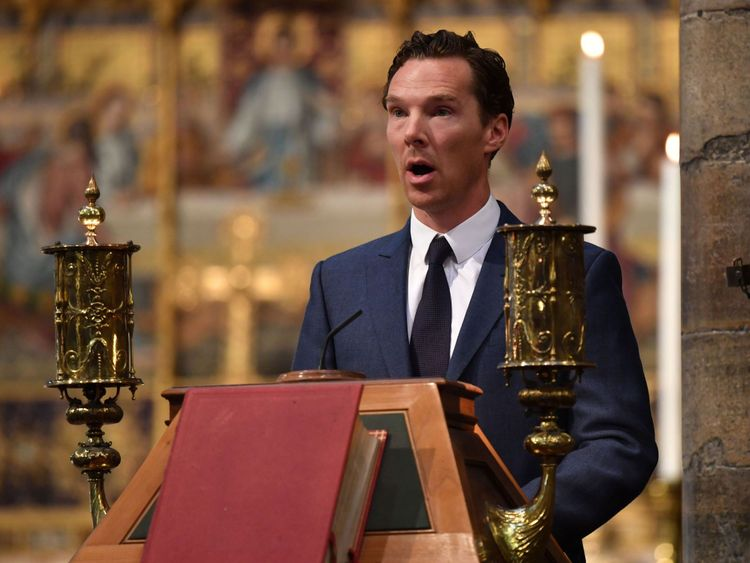Benedict Cumberbatch gives a reading at the service