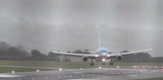 Plane lands sideways due to heavy winds (Video)