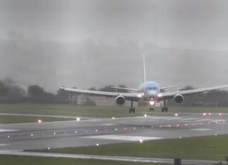 Plane lands sideways due to heavy winds (Video)