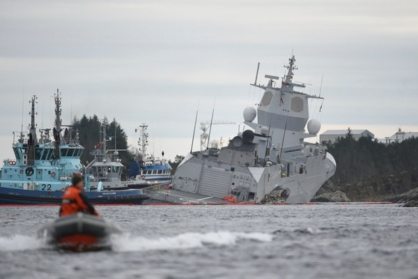 Norway's warship collides with oil tanker in fjord