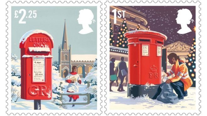 Royal Mail Christmas stamps have red postbox theme (Photo)