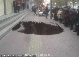 Woman falling into sinkhole on sidewalk in China (Video)