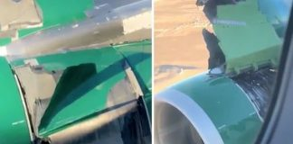Plane's engine appears to fall apart mid-air (Picture)