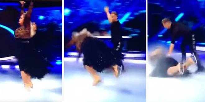 Gemma Collins suffers fall during live performance (Video)