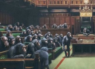 Banksy artwork depicting MPs as chimps up for auction
