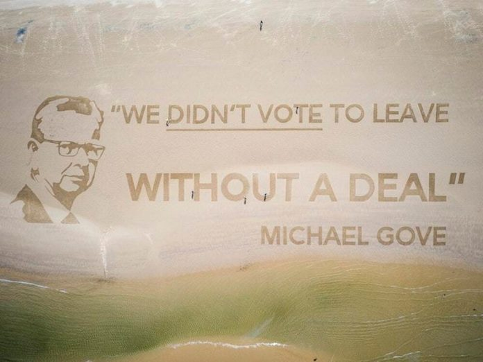 Gove portrait 'visible from space' drawn on beach (Photo)