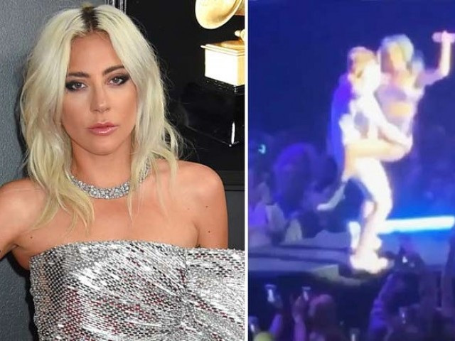 Lady Gaga and fan fall off stage during Las Vegas show (Watch)