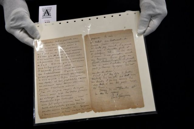 Van Gogh, Gauguin brothel letter sells for 210000 euros in Paris