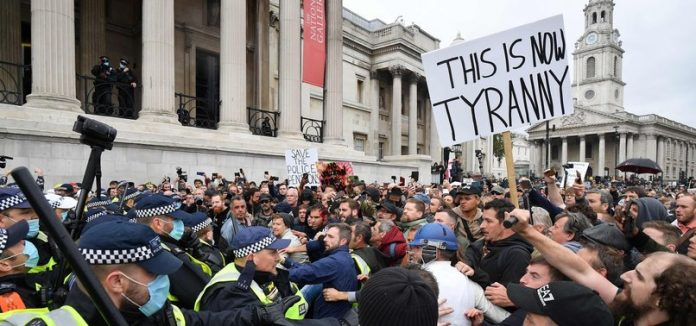 Thousands gathered in central London today in protest, Report
