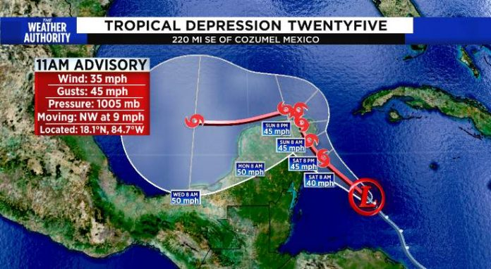 Tropical Depression 25 forms in the Caribbean, Report