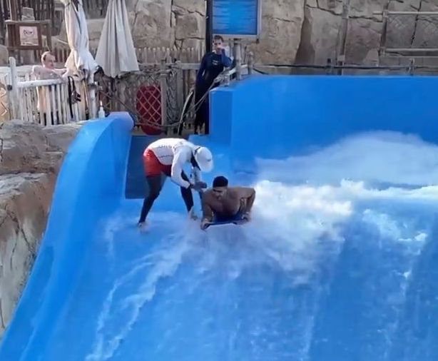 Love Island's Tommy Fury gets WASHED AWAY at a waterpark in Dubai (Picture)